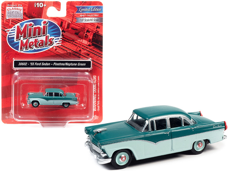 1955 Ford 4-Door Sedan Pinetree Green Neptune Green 1/87 HO Scale Model Car Classic Metal Works 30602