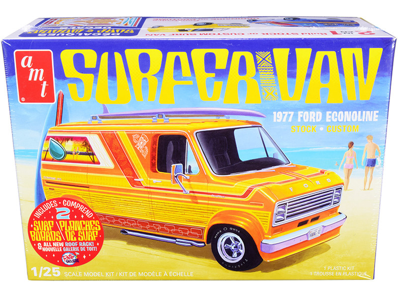 Skill 2 Model Kit 1977 Ford Econoline Surfer Van Two Surfboards 2-in-1 Kit 1/25 Scale Model AMT AMT1229 M
