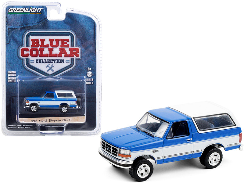 1992 Ford Bronco XLT Bright Regatta Blue White Blue Collar Collection Series 8 1/64 Diecast Model Car Greenlight 35180 F