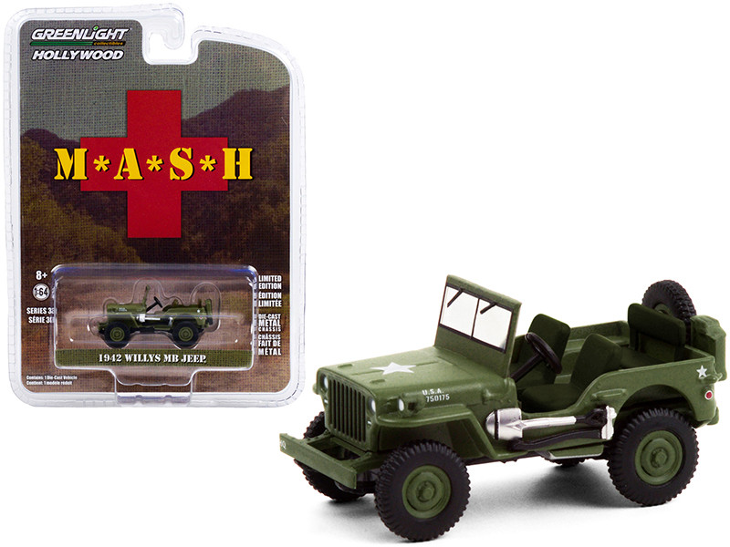 1942 Willys MB Jeep Army Green MASH 1972 1983 TV Series Hollywood Series Release 30 1/64 Diecast Model Car Greenlight 44900 A