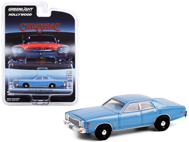 1977 Plymouth Fury Steel Blue Detective Rudolph Junkins' Christine 1983 Movie Hollywood Series Release 30 1/64 Diecast Model Car Greenlight 44900 B
