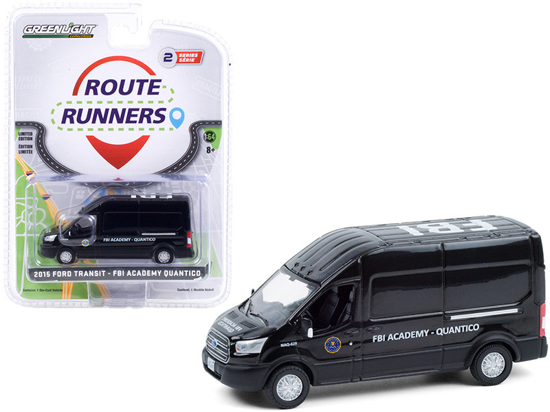 2015 Ford Transit Van Black FBI Academy Quantico Quantico 2015 2018 TV Series Route Runners Series 2 1/64 Diecast Model Greenlight 53020 B