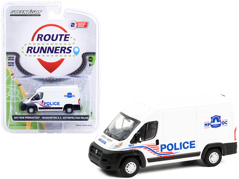 2017 Ram ProMaster 2500 Cargo High Roof Van White Washington DC Metropolitan Police Route Runners Series 2 1/64 Diecast Model Greenlight 53020 C