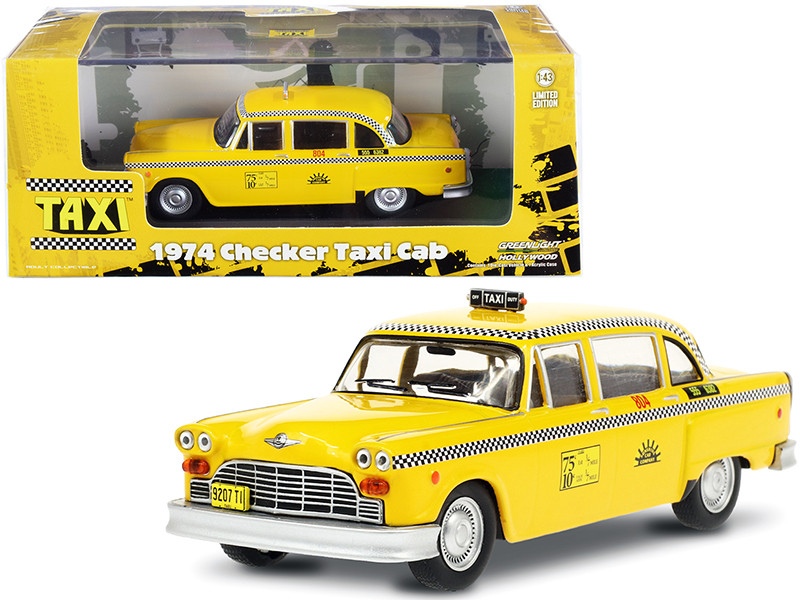 1974 Checker Taxi Cab #804 Yellow Sunshine Cab Company Taxi 1978 1983 TV Series 1/43 Diecast Model Car Greenlight 86601