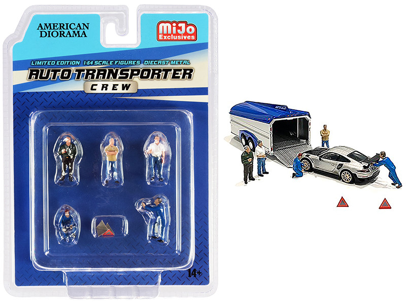 Auto Transporter Crew Diecast Set 7 pieces 5 Figurines 2 Warning Triangles 1/64 Scale Models American Diorama 76464