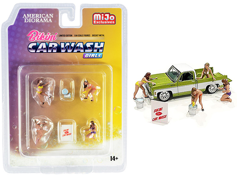 Bikini Car Wash Girls Diecast Set 7 pieces 4 Figurines 3 Accessories 1/64 Scale Models American Diorama 76465
