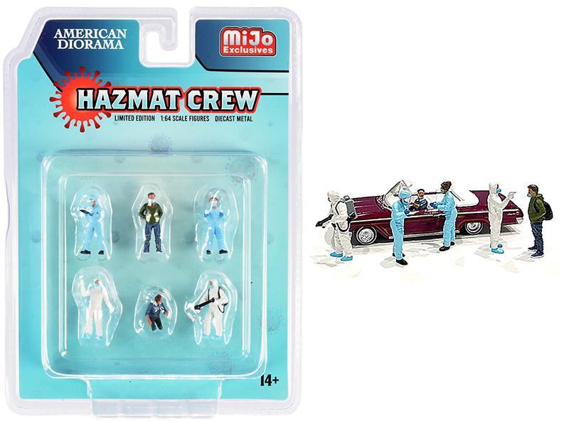 Hazmat Crew 6 piece Diecast Figurine Set 1/64 Scale Models American Diorama 76466