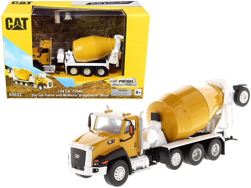 CAT Caterpillar CT660 Day Cab Tractor McNeilus Bridgemaster Concrete Mixer Play & Collect Series 1/64 Diecast Model Diecast Masters 85632