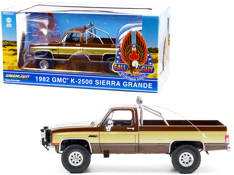 1982 GMC K-2500 Sierra Grande Pickup Truck Brown Gold Sides Fall Guy Stuntman Association The Fall Guy 1981 1986 TV Series 1/18 Diecast Model Car Greenlight 13560