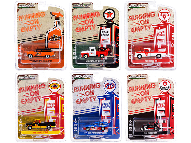 Running on Empty 6 piece Set Series 12 1/64 Diecast Model Cars Greenlight 41120