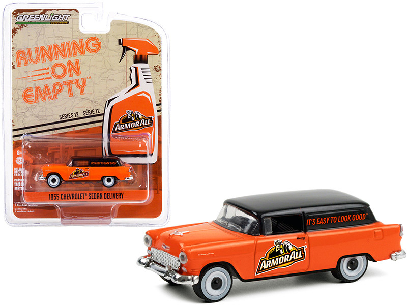 1955 Chevrolet Sedan Delivery Armor All Orange Black Top Running on Empty Series 12 1/64 Diecast Model Car Greenlight 41120 A