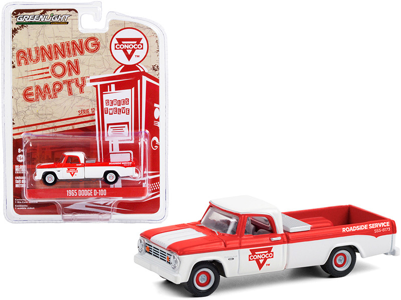 1965 Dodge D-100 Pickup Truck Conoco Roadside Service White Red Running on Empty Series 12 1/64 Diecast Model Car Greenlight 41120 C