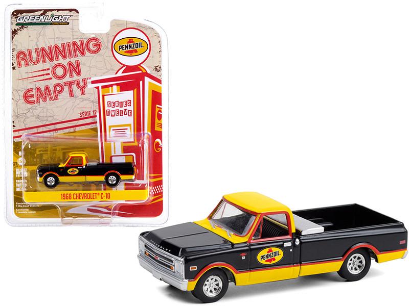 1968 Chevrolet C-10 Pickup Truck Toolbox Pennzoil Black Yellow Running on Empty Series 12 1/64 Diecast Model Car Greenlight 41120 D