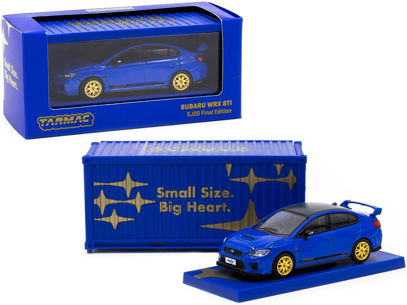Subaru WRX STi EJ20 Final Edition Blue Gold Wheels Container 1/64 Diecast Model Car Tarmac Works T64-016-FE