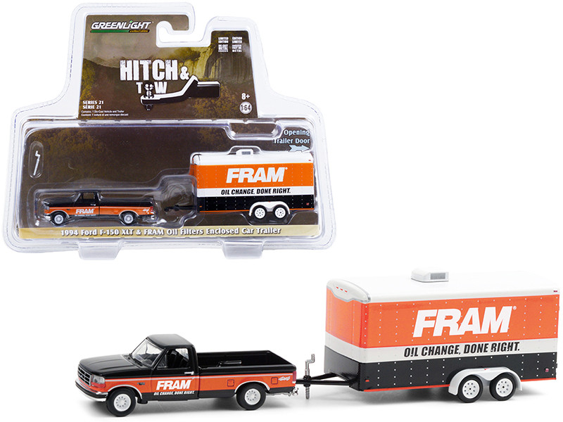 1994 Ford F-150 XLT Pickup Truck Black Orange Enclosed Car Hauler FRAM Oil Filters Hitch & Tow Series 21 1/64 Diecast Model Car Greenlight 32210 B