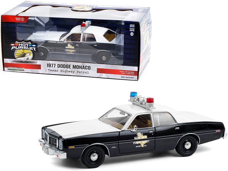 1977 Dodge Monaco Texas Highway Patrol Police Car Black White Hot Pursuit Series 1/24 Diecast Model Car Greenlight 85522