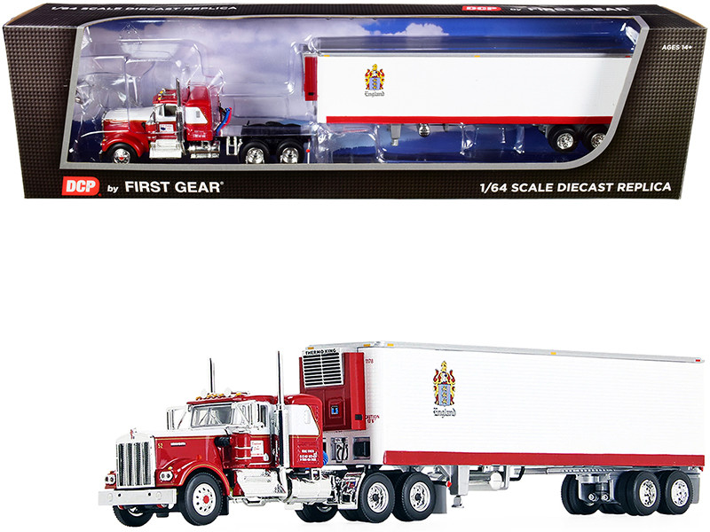"""Kenworth W900A 36"""" Flattop Sleeper Cab 40' Vintage Reefer Refrigerated Trailer CR England Red White 1/64 Diecast Model DCP First Gear 60-0936"""