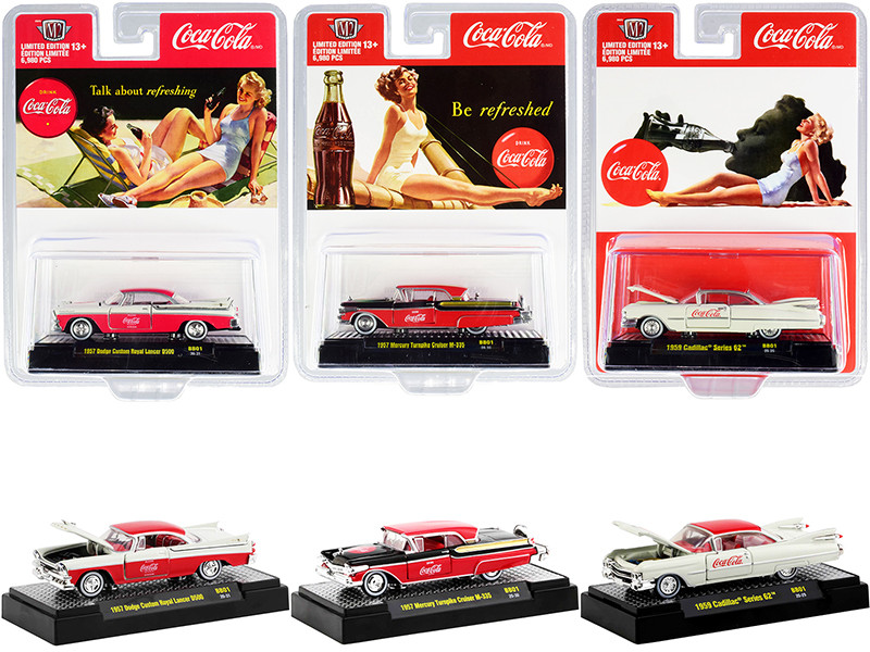 Coca-Cola Bathing Beauties Set of 3 Cars Release 1 Limited Edition 6980 pieces Worldwide 1/64 Diecast Model Cars M2 Machines 52500-BB01