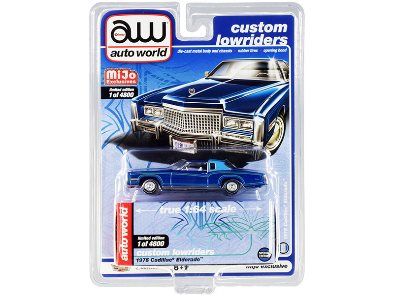 1975 Cadillac Eldorado Dark Blue Metallic Light Blue Partial Vinyl Top Custom Lowriders Limited Edition 4800 pieces Worldwide 1/64 Diecast Model Car Autoworld CP7720