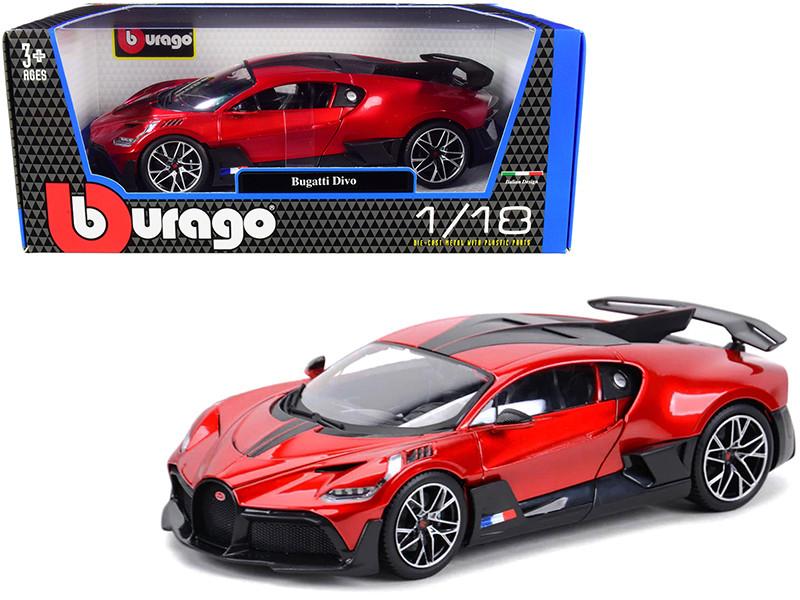 Bugatti Divo Red Metallic Carbon Accents 1/18 Diecast Model Car Bburago 11045