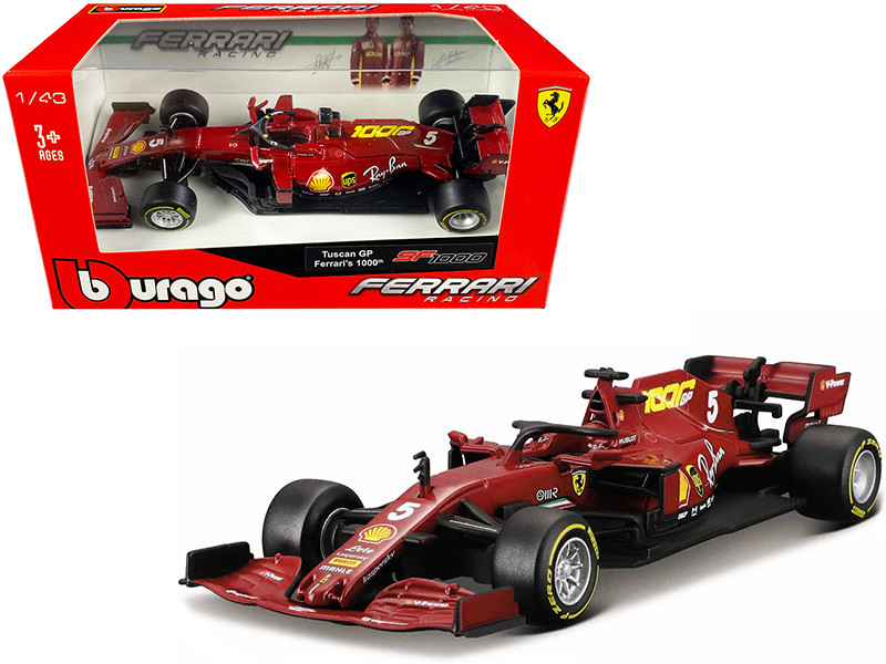 Ferrari SF1000 #5 Sebastian Vettel Tuscan GP Formula One F1 2020 Ferrari's 1000th Race 1/43 Diecast Model Car Bburago 36823 SV