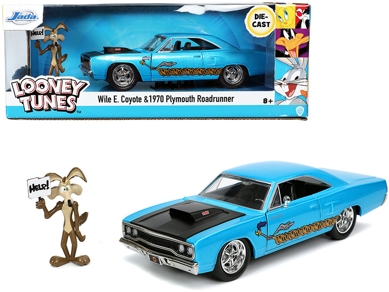 1970 Plymouth 440-6BBL RoadRunner Light Blue Metallic Black Hood Wile E. Coyote Diecast Figurine Looney Tunes 1/24 Diecast Model Car Jada 32038