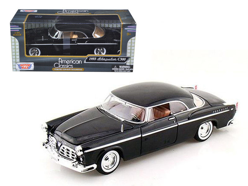 1955 Chrysler C300 Black 1/24 Diecast Model Car Motormax 73302