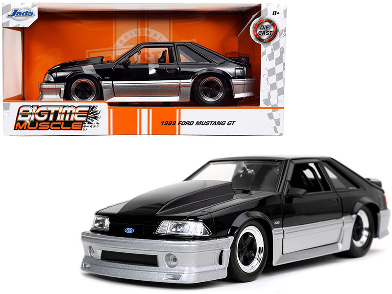 1989 Ford Mustang GT 5.0 Black Silver Bigtime Muscle 1/24 Diecast Model Car Jada 32667