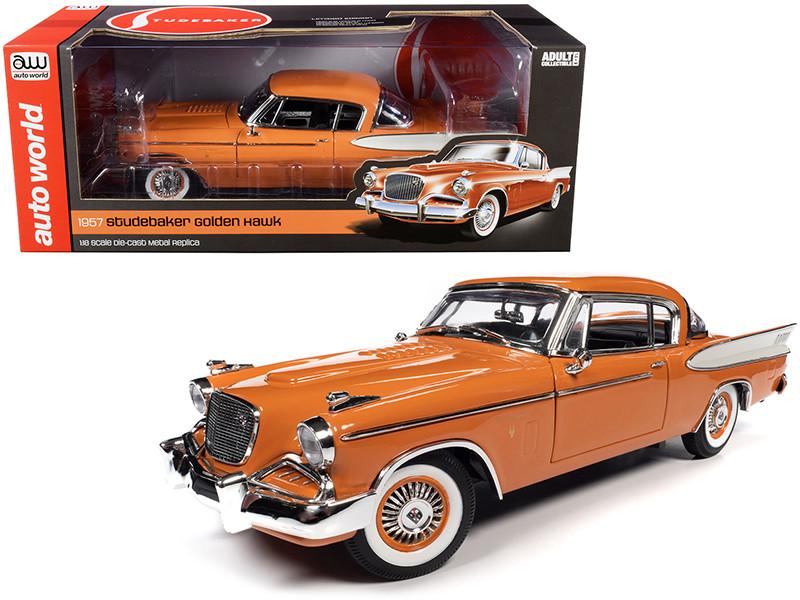 1957 Studebaker Gold Hawk Coppertone Orange White 1/18 Diecast Model Car Autoworld AW270