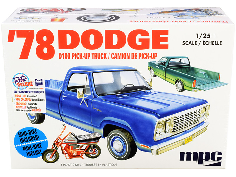 Skill 2 Model Kit 1978 Dodge D100 Pickup Truck Mini Bike 1/25 Scale Model MPC MPC901 M