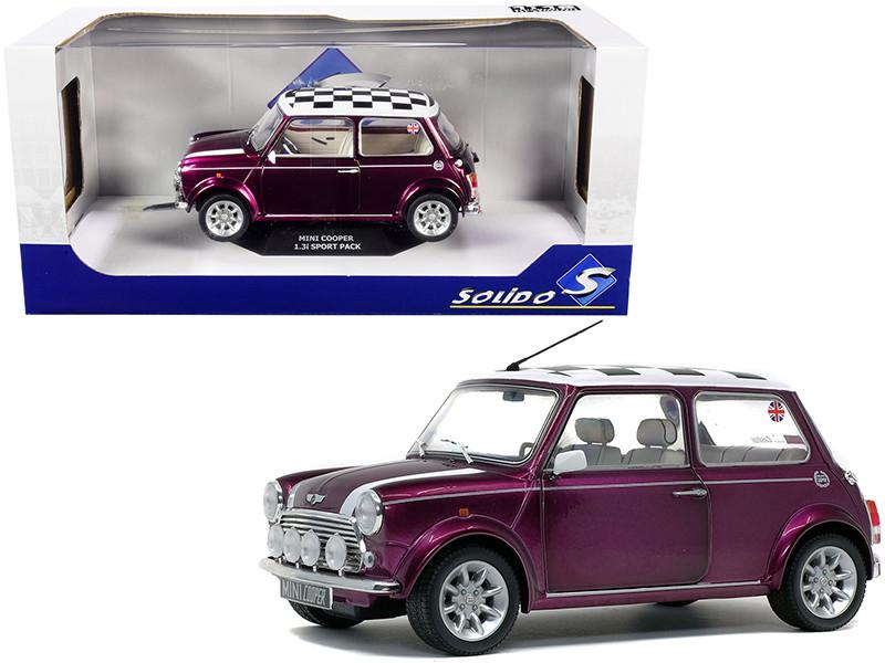 1997 Mini Cooper 1.3i Sport Purple Check Top 1/18 Diecast Model Car Solido S1800606