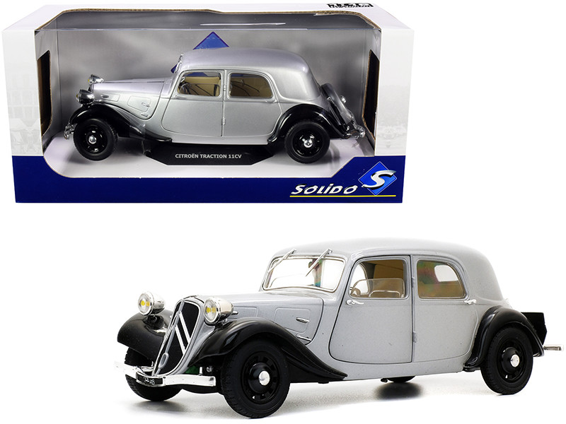 Citroen Traction 11CV Silver Black 1/18 Diecast Model Car Solido S1800904