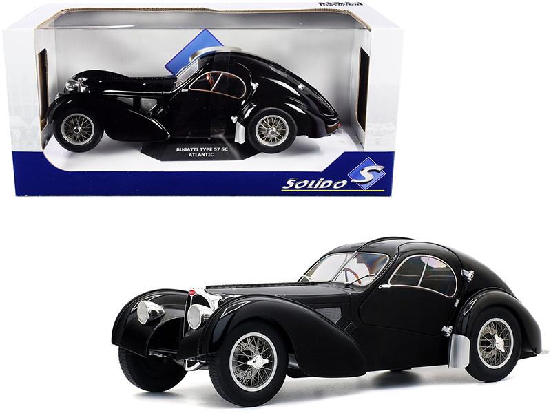 1937 Bugatti Type 57 SC Atlantic RHD Right Hand Drive Black 1/18 Diecast Model Car Solido S1802101