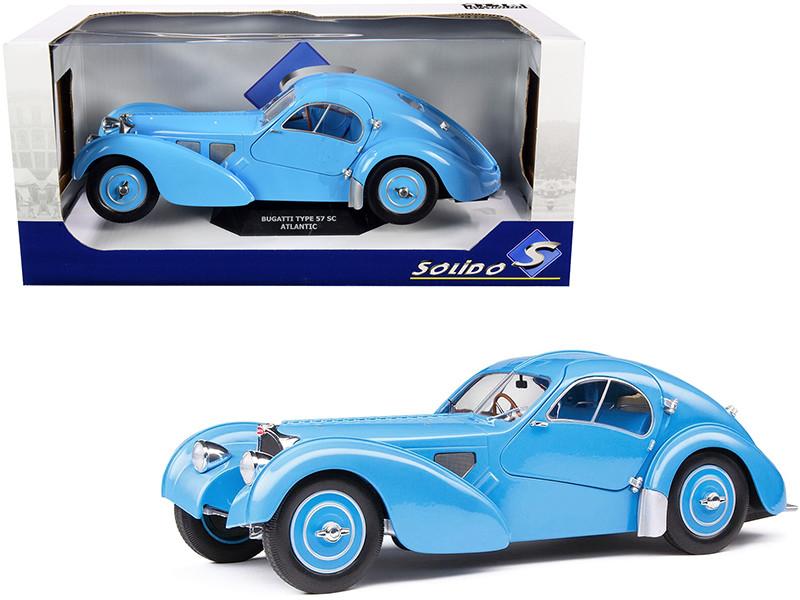 1937 Bugatti Type 57 SC Atlantic RHD Right Hand Drive Light Blue 1/18 Diecast Model Car Solido S1802104
