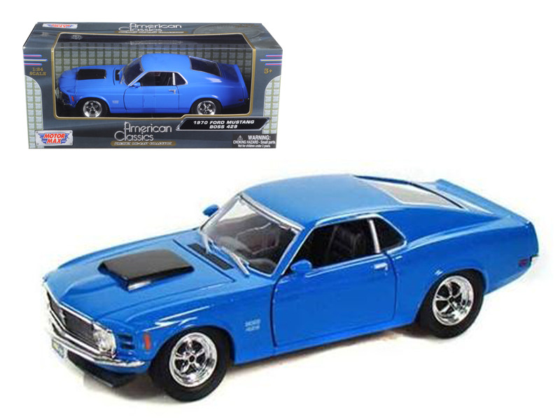 1970 Ford Mustang Boss 429 Blue 1/24 Diecast Model Car Motormax 73303