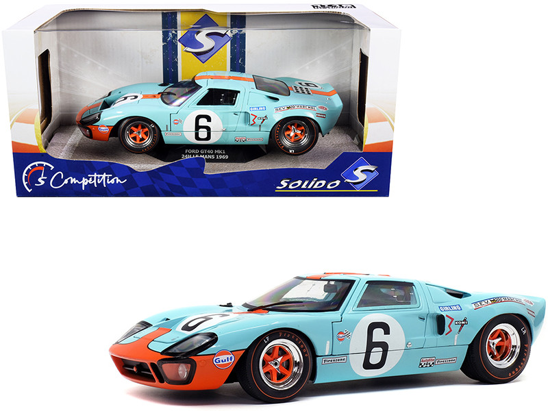 Ford GT40 MK1 #6 Ickx Olivier Gulf Oil Winner 24 Hours Le Mans 1969 Competition Series 1/18 Diecast Model Car Solido S1803003