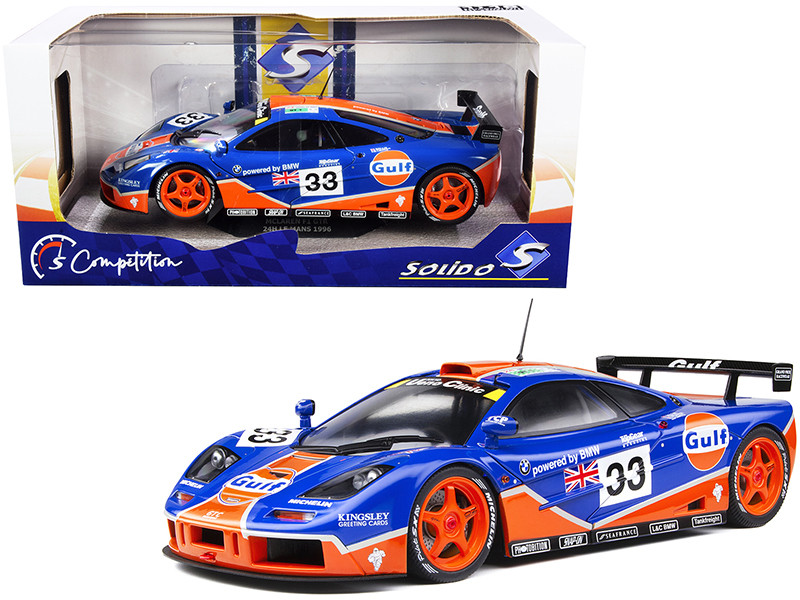 McLaren F1 GTR #33 Bellm Lehto Weaver Gulf Oil 24 Hours Le Mans 1996 Competition Series 1/18 Diecast Model Car Solido S1804101