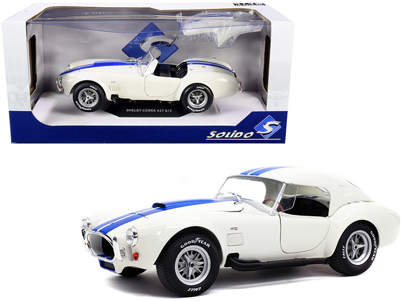 Shelby Cobra 427 S/C Convertible Wimbledon White Blue Stripes 1/18 Diecast Model Car Solido S1804906