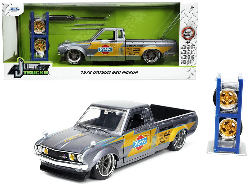 1972 Datsun 620 Pickup Truck Toyo Tires Silver Extra Wheels Just Trucks Series 1/24 Diecast Model Car Jada 32313