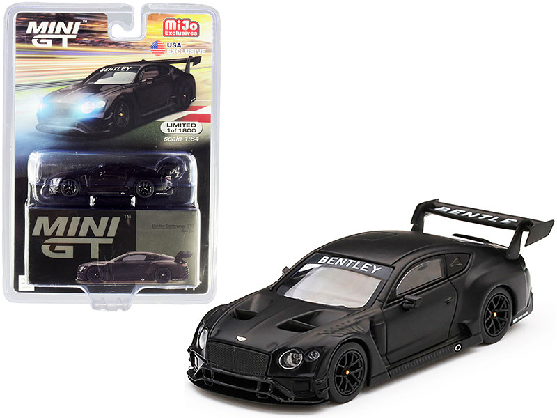 Bentley Continental GT3 RHD Right Hand Drive Test Car 2018 Matt Black Limited Edition 1800 pieces Worldwide 1/64 Diecast Model Car True Scale Miniatures MGT00177