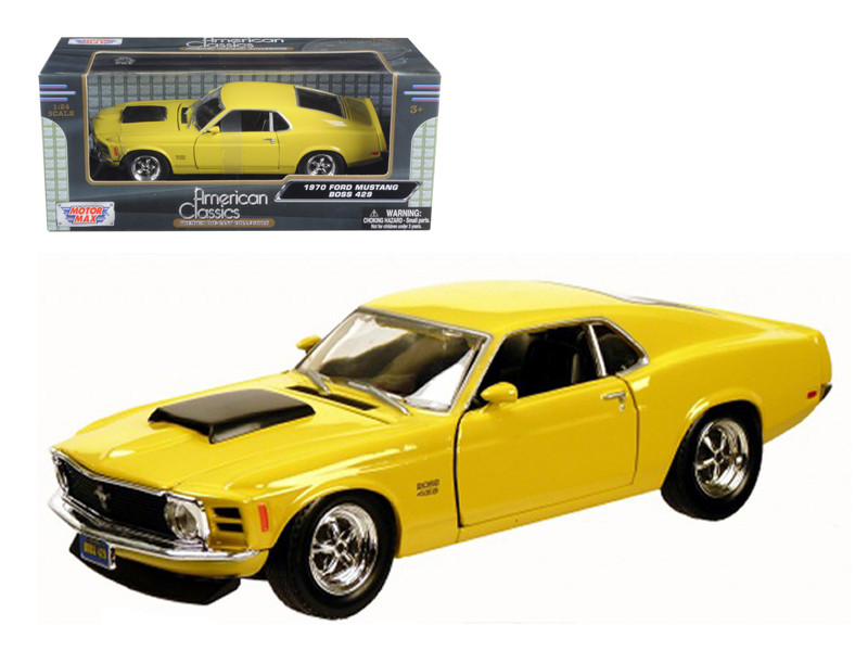 1970 Ford Mustang Boss 429 Yellow 1/24 Diecast Model Car Motormax 73303