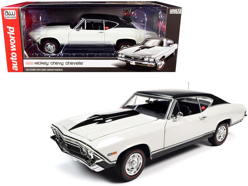 1968 Chevrolet Nickey Chevelle SS Hardtop Ermine White Black Top 1/18 Diecast Model Car Autoworld AMM1201