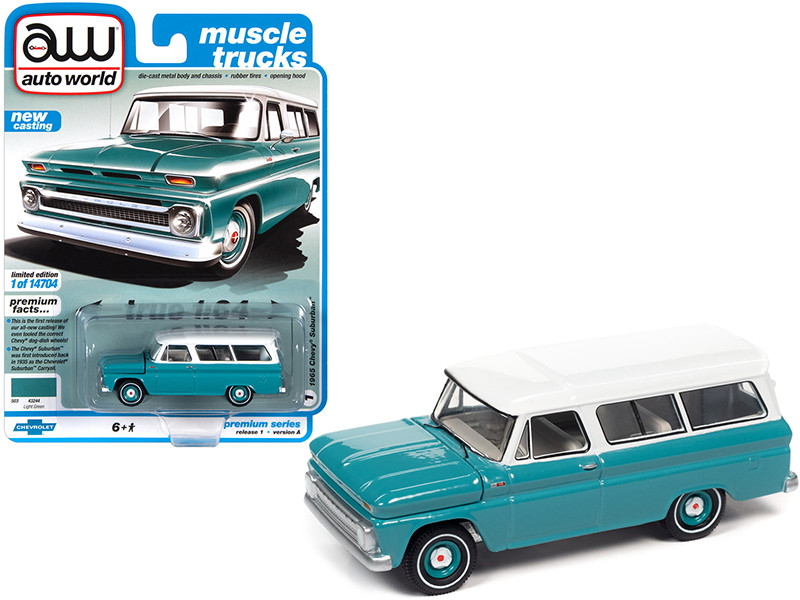 1965 Chevrolet Suburban Light Green White Top Muscle Trucks Limited Edition 14704 pieces Worldwide 1/64 Diecast Model Car Autoworld 64302 AWSP060 A