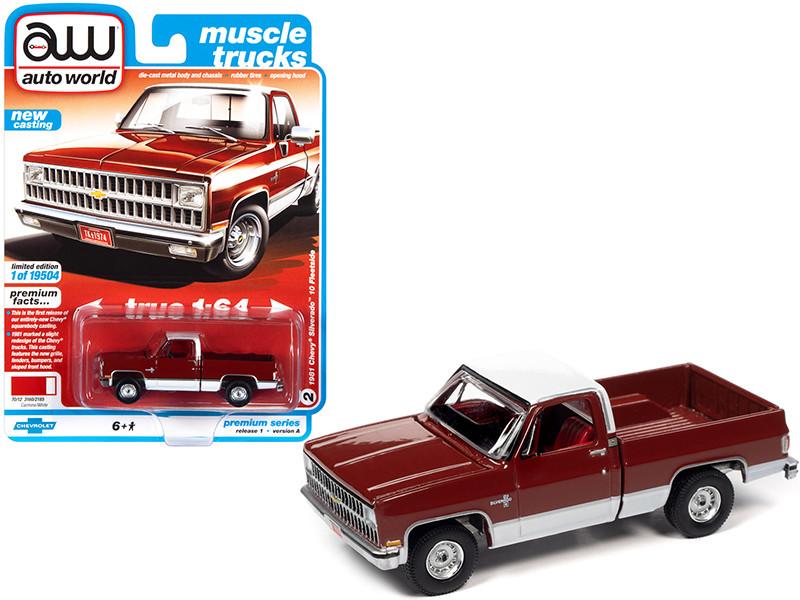 1981 Chevrolet Silverado 10 Fleetside Carmine Red White Red Interior Muscle Trucks Limited Edition 19504 pieces Worldwide 1/64 Diecast Model Car Autoworld 64302 AWSP062 A
