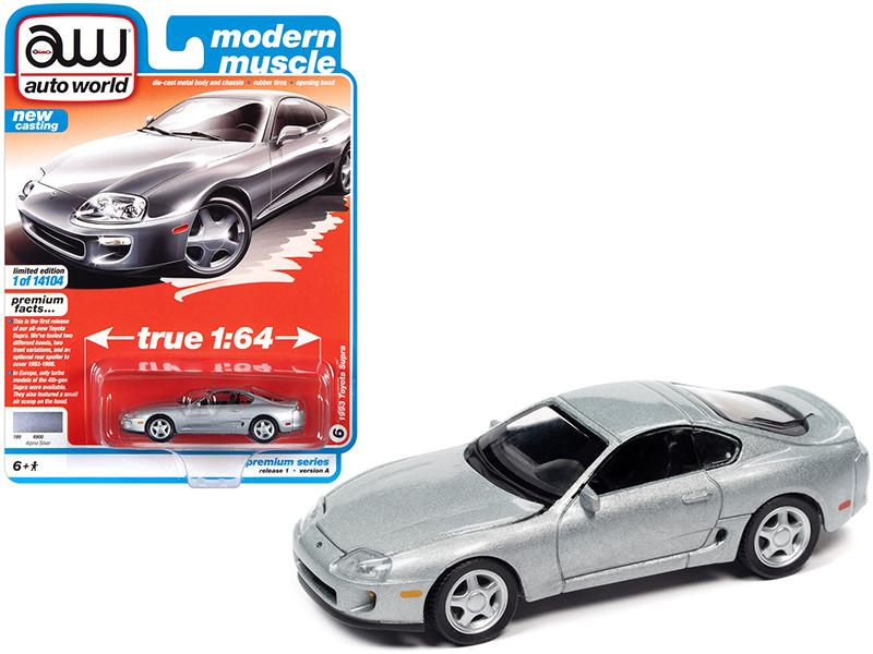 1993 Toyota Supra Alpine Silver Modern Muscle Limited Edition 14104 pieces Worldwide 1/64 Diecast Model Car Autoworld 64302 AWSP064 A