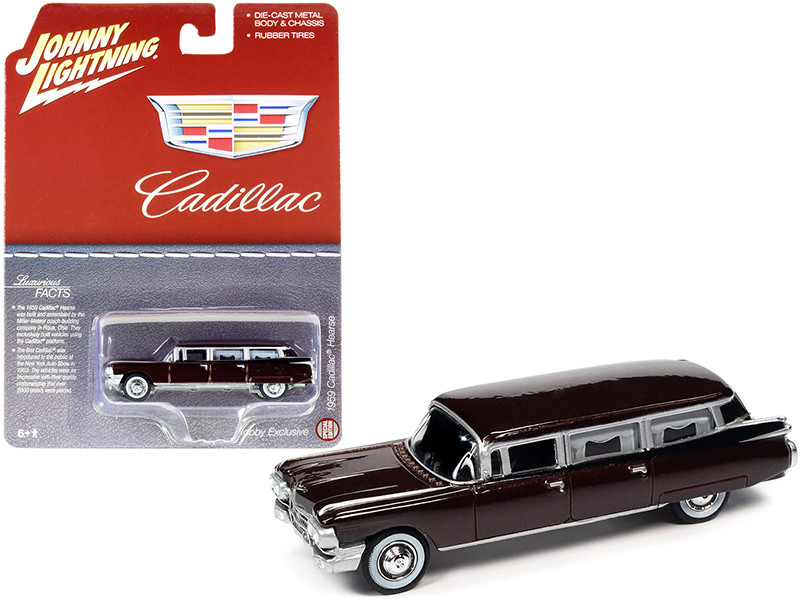 1959 Cadillac Hearse Brown Metallic Special Edition 1/64 Diecast Model Car Johnny Lightning JLSP113