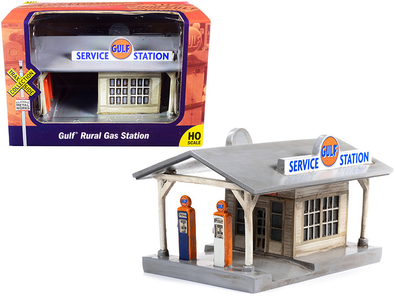 Rural Gas Station Gulf Oil United States Tires Building TraxSide Collection Series 1/87 HO Scale Models Classic Metal Works TC116