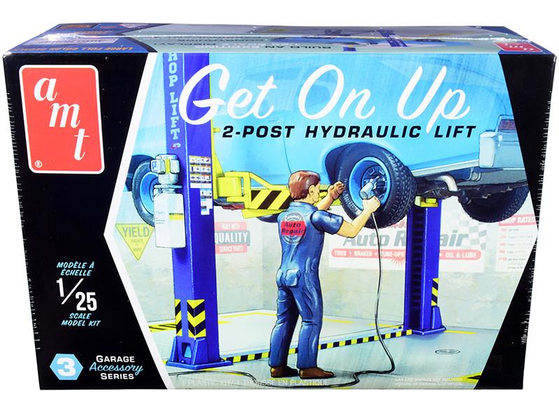 Skill 2 Model Kit Garage Accessory Set #3 2-Post Hydraulic Lift Figurine Get On Up 1/25 Scale Model AMT AMTPP017 M