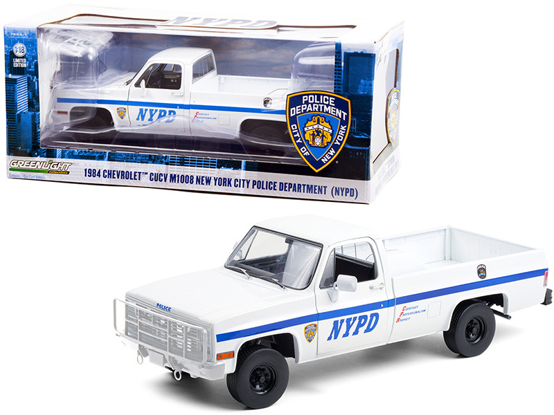 1984 Chevrolet CUCV M1008 Pickup Truck White Blue Stripes NYPD New York City Police Department 1/18 Diecast Model Car Greenlight 13561