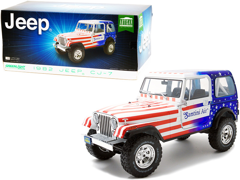 1982 Jeep CJ-7 Santini Air American Flag Graphics 1/18 Diecast Model Car Greenlight 19090